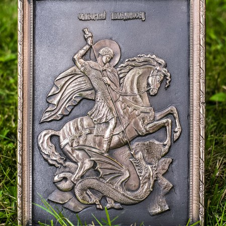 Икона Святого великомученика Георгия Победоносца, бронза